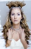 image of snow queen  - beauty young snow queen in fairy flashes with hair crown on her head - JPG