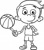 Постер, плакат: Boy Basketball Player Coloring Page