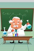 picture of professor  - A vector illustration of chemistry professor working at the lab - JPG