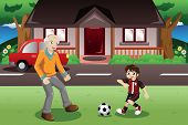 stock photo of grandpa  - A vector illustration of grandpa and grandson playing soccer in the front yard - JPG