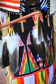 foto of ceremonial clothing  - Native american indian dressed for ceremony dance performance outside - JPG