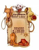foto of cowboy  - Old fashion wild west wanted reward vintage poster with horse saddle revolver cowboy backpack sketch abstract vector illustration - JPG