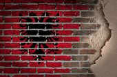 picture of albania  - Dark brick wall texture with plaster  - JPG