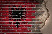 pic of albania  - Dark brick wall texture with plaster  - JPG