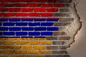 stock photo of armenia  - Dark brick wall texture with plaster  - JPG