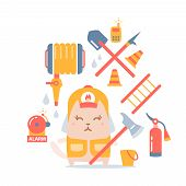 pic of firehose  - Character firefighter in coveralls and helmet colorful flat composition of professional accessories - JPG