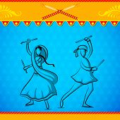 pic of navratri  - easy to edit vector illustration of people doing Dandiya in Navratri - JPG