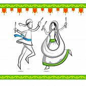 picture of navratri  - easy to edit vector illustration of people doing Dandiya in Navratri - JPG