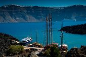 stock photo of nea  - The port on the volcanic island named Nea Kameni - JPG