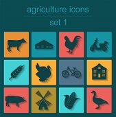stock photo of husbandry  - Set agriculture animal husbandry icons - JPG