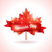 pic of canada maple leaf  - Maple leaf with red ribbon - JPG