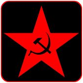 stock photo of communist symbol  - Communist star icon on black - JPG