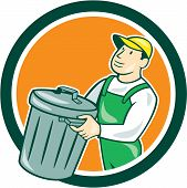 foto of garbage bin  - Illustration of a garbage collector carrying garbage waste rubbish bin set inside circle shape on isolated background done in cartoon style - JPG
