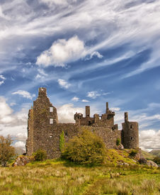 image of bute  - Kilchurn Castle a ruined 15th century structure on the banks of Loch Awe in Argyll and Bute Scotland - JPG