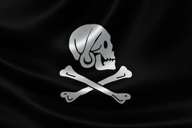 picture of skull crossbones flag  - 3D rendering of the Pirate Flag of Henry Every  - JPG