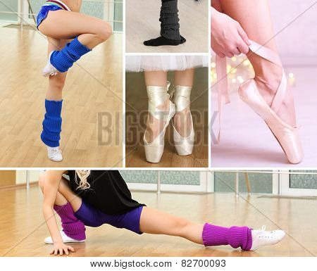 Collage of female feet practicing dance