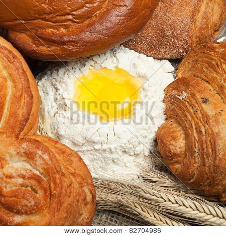 fresh bread with ears of rye and flour