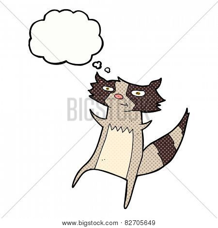 cartoon raccoon with thought bubble