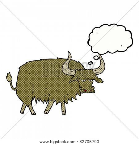 cartoon annoyed hairy cow with thought bubble