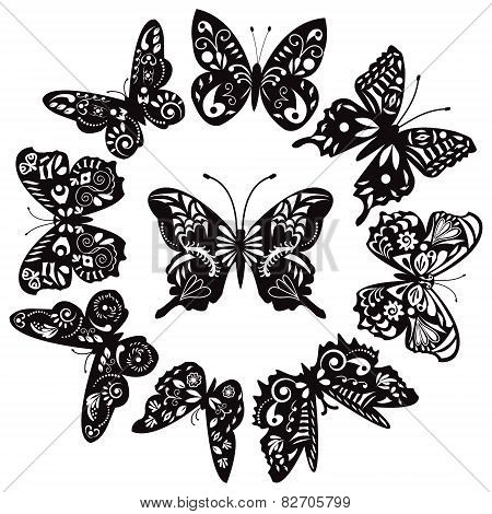 Black And White Butterflies For Design