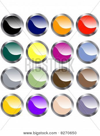 Set of Metallic Web Buttons
