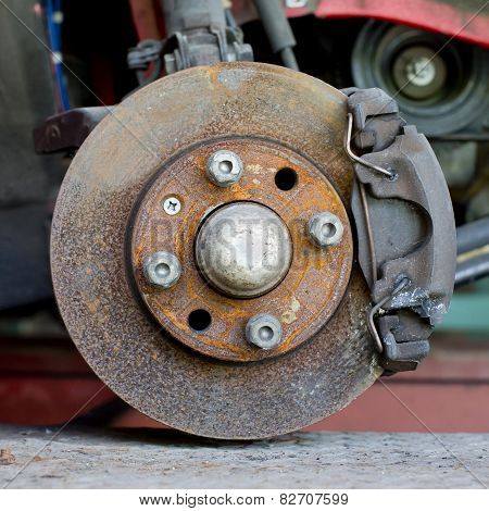 Closeup Photo Of Car Disc Brakes Servicing