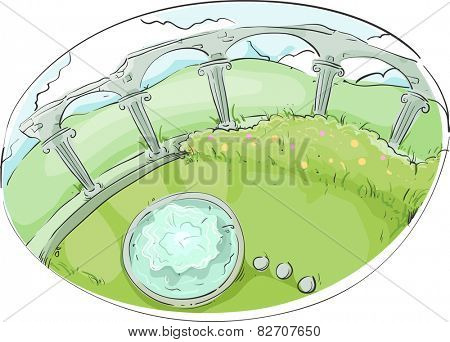 Illustration of a Garden Decorated With a Colonnade and a Fountain
