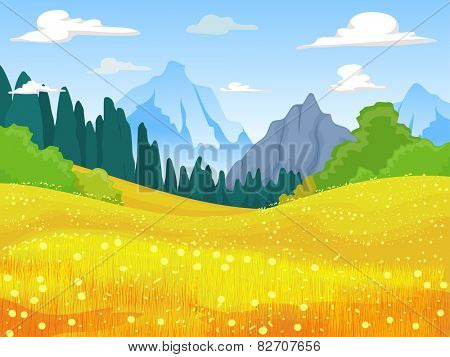 Illustration of a Mountain Field Covered With Yellow Flowers