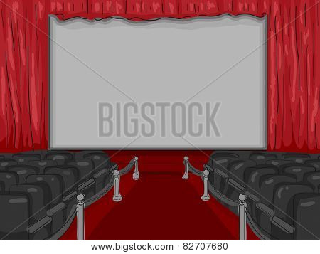 Illustration of a Red Carpet Lining the Aisle of an Empty Theater