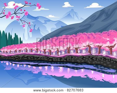 Illustration of  Mountain Decorated by a Line of Cherry Blossom Trees