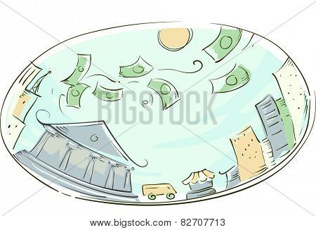 Illustration of Money Raining Down a Modern City