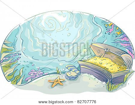 Illustration of a Treasure Chest Lying at the Bottom of the Sea