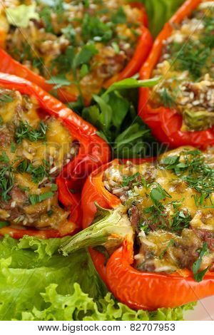 Stuffed red peppers close up