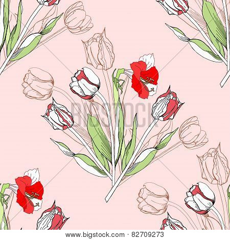 Seamless pattern  with amaryllis and tulip-05