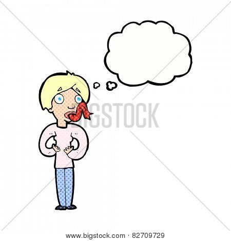 cartoon woman sticking out tongue with thought bubble