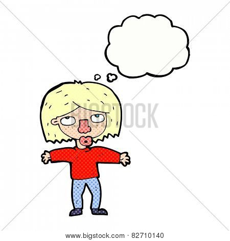 cartoon girl looking upwards with thought bubble