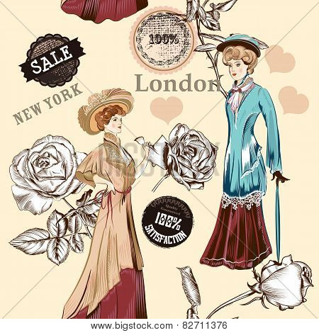 Fashion Seamless Pattern With Old Fashioned Objects