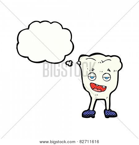 cartoon tooth looking smug with thought bubble