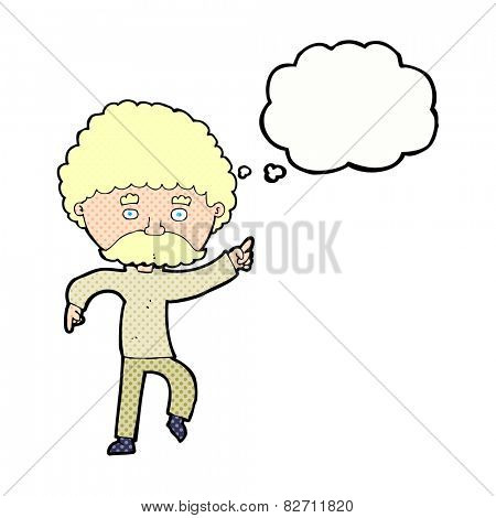 cartoon seventies style man disco dancing with thought bubble