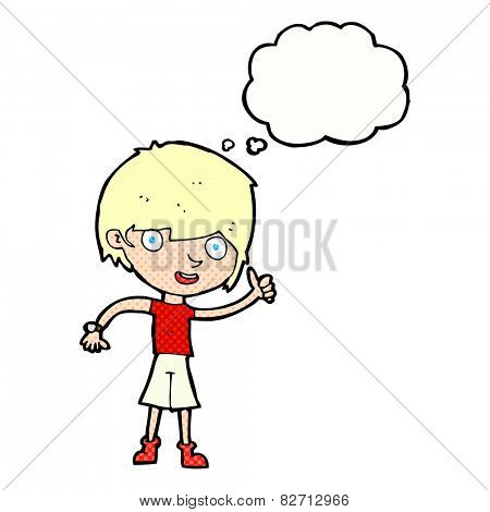 cartoon boy with positive attitude with thought bubble