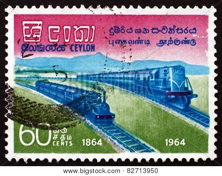 Postage Stamp Sri Lanka 1964 Railroad Trains