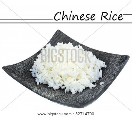 Chinese rice on plate isolated on white and space for your text