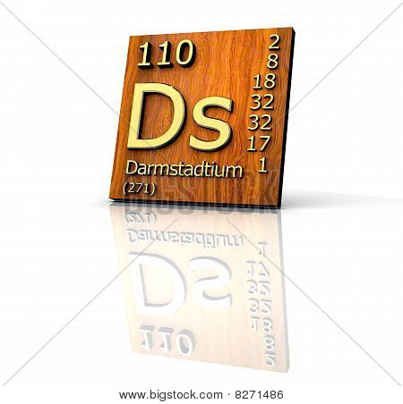 Darmstadtium Periodic Table Of Elements - Wood Board