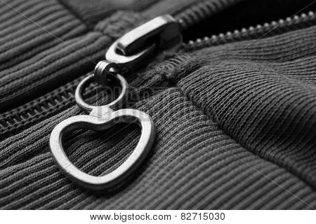 Zipper on clothes close up