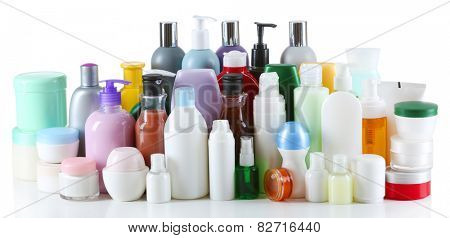 Group of cosmetic bottles isolated on white