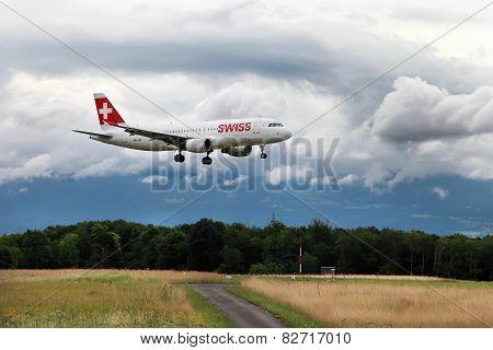 Geneva, Switzerland - July 12, 2014. Swiss International Air Lines Airbus Is Going To Land At Geneva