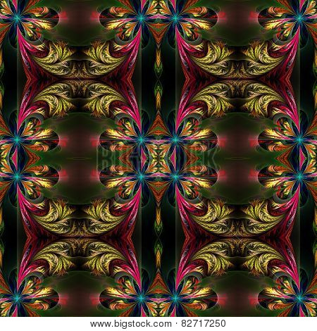 Beautiful Symmetrical Background From Fractal Tracery. On Black.