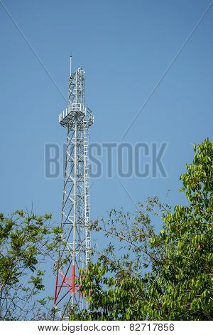 New Cell Phone Towers Blue Sky Background.