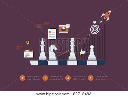 Set of flat design vector illustration concepts for strategy planning, goal-oriented planning