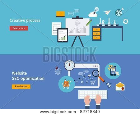 Set of flat design vector illustration concepts of creative process and website SEO optimization